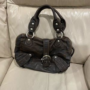 Bag by browns -real leather / gorgeous leopard interior - buckles and studs -